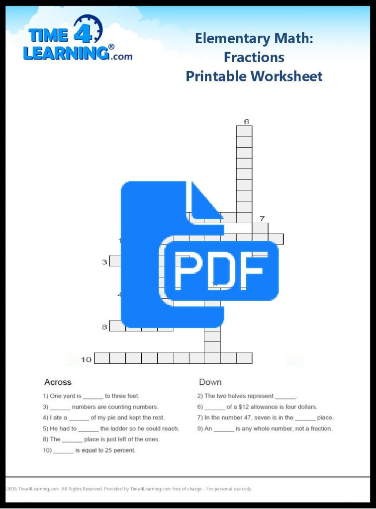 Free math fractions printable worksheet
