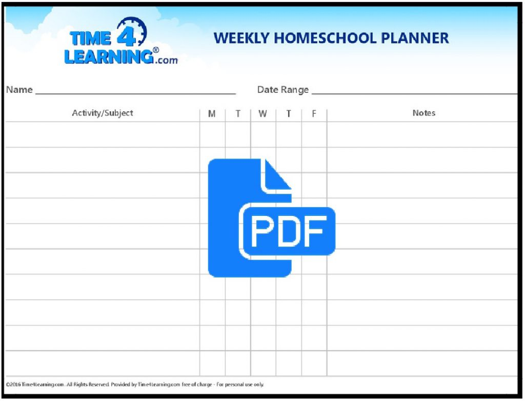 Free Printable Weekly Homeschool Planner Time4learning