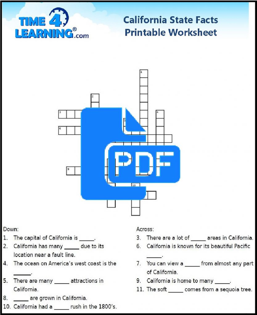 Free Printable California State Fact Crossword