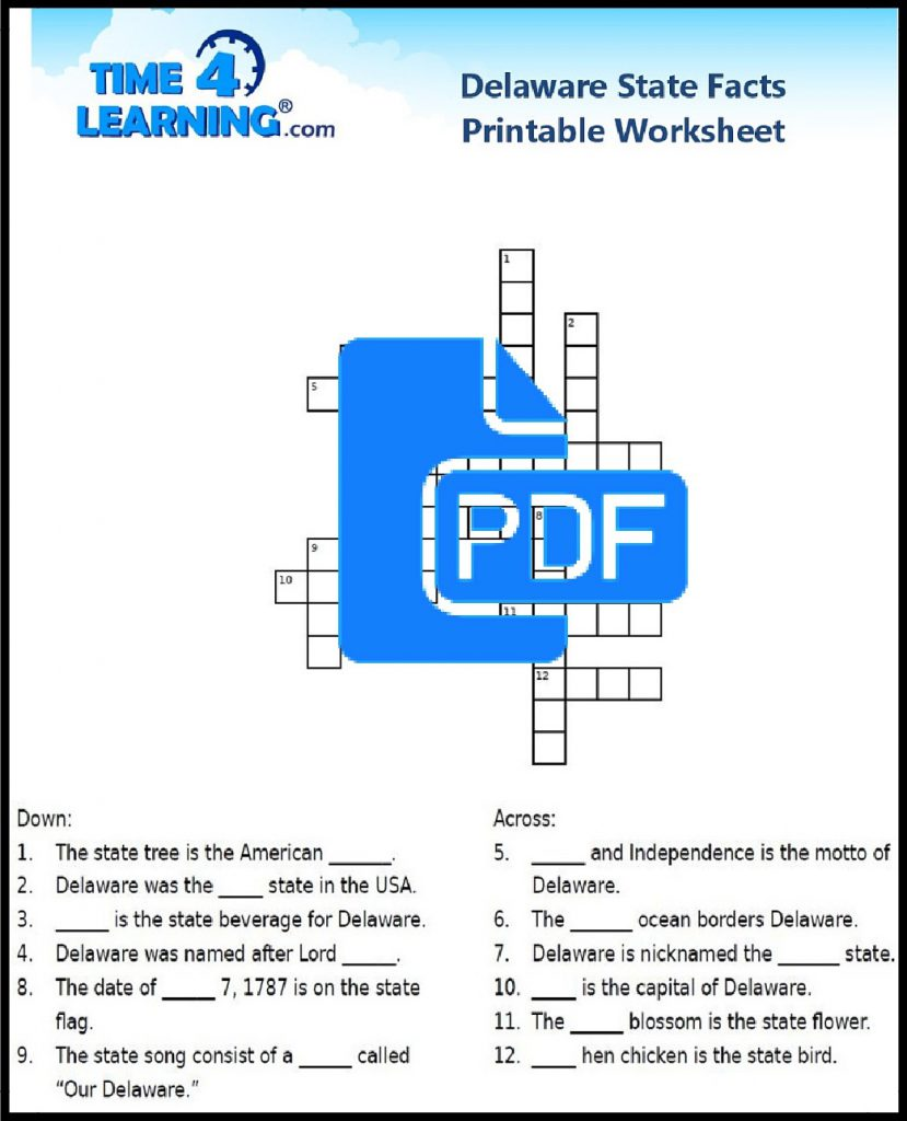 Free Printable Delaware State Fact Crossword