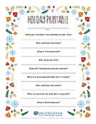 Free Holiday Printable Worksheet