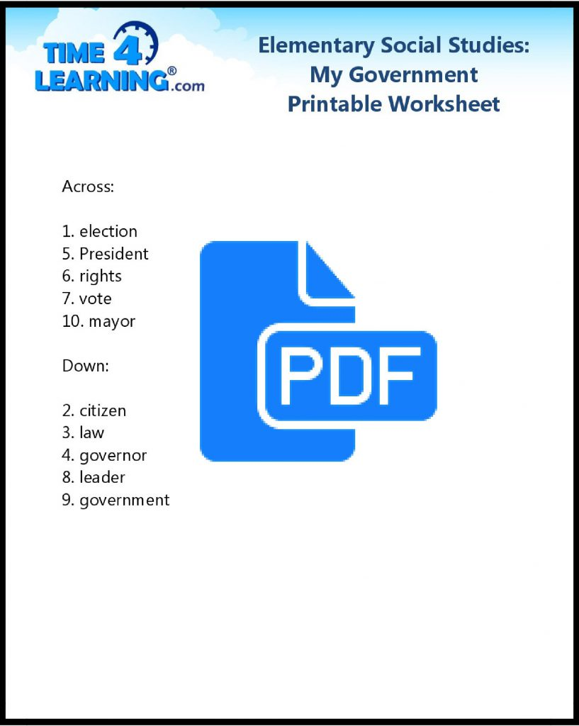 Free printable social studies worksheet - key