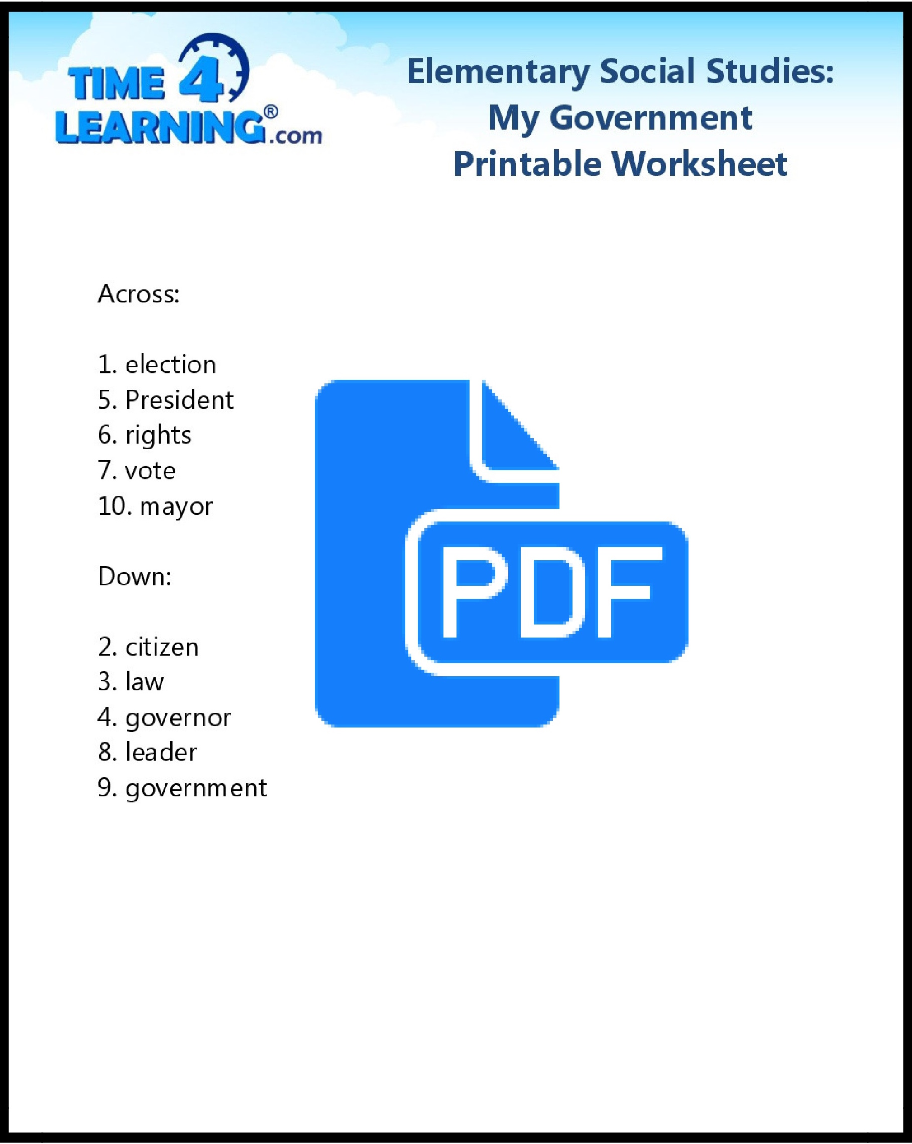 Free Printable Elementary Social Studies Worksheet Time4learning